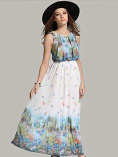 Euro Style Printed Sleeveless Chiffon Dress