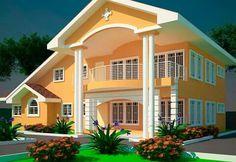 4 bedroom modern house plans in ghana 4 Bedroom House Designs, 5 Bedroom House Plans, Bungalow House Plans, Bungalow House Design, House Front Design, Modern Home Design, Home Design Plans, Luxury House Plans, Modern House Plans