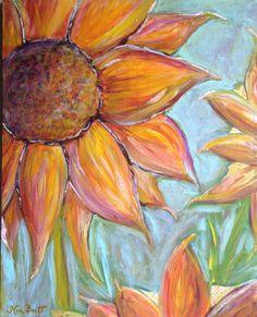 Original Sunflower Mixed Media Acrylic Painting
