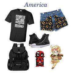 """America (Hetalia)"" by kreepykitten ❤ liked on Polyvore featuring Sherpani and Converse"