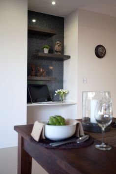 Creating a study nook is easy! Love the floating shelves.