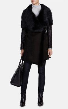Draped shearling coat | Luxury Women's shop_all | Karen Millen