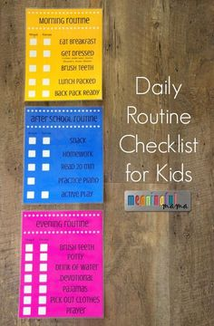 Daily Routine Checklist for Kids - Parent Organization Idea for Running a House