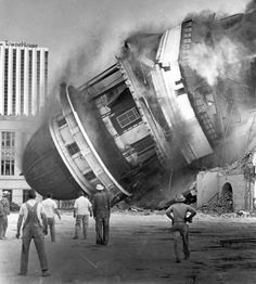 Demolishing Fresno Courthouse in the early 1960's. This was against the wishes of the citizens, and was the subject of protest at the time.