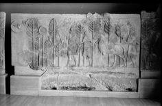 A Neo-Assyrian relief slab representing hunting scene, from Dur Sharrukin (Khorsabad); 721-705 B.C. (IM. 60978).