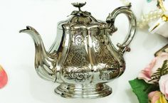 Elkington Victorian silver plate Teapot with floral finial, Sheffield England 1849 by FlyingSquirrelNest on Etsy