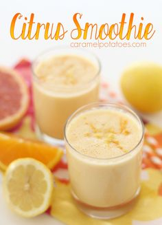 We love smoothies at our home. Sometimes for breakfast, sometimes for a great afternoon snack, and sometimes they bring new life to leftovers for dinner! This Citrus Smoothie is perfect fo… Protein Smoothie Recipes, Breakfast Smoothie Recipes, Green Smoothie Recipes, Juice Smoothie, Strawberry Banana Smoothie, Oatmeal Smoothies, Vegan Smoothies, Healthy Yogurt, Healthy Food