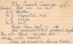 Handwritten Recipe Card For Chocolate Covered Cherries