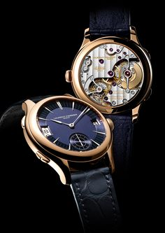 Galet Traveller in red gold case and blue dial.