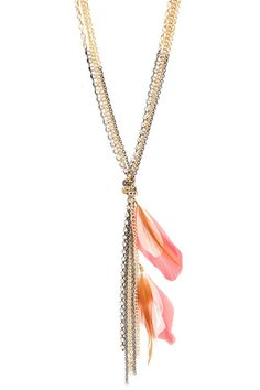 Coral Feathers And Rhinestone Knot Necklace | Necklaces