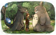 totoro how to train your dragon ghibli httyd toothless hiccup Tonari no Totoro kadeart