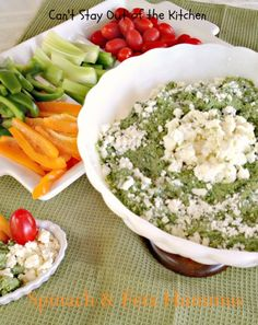 Spinach and Feta Hummus. Healthy, low calorie gluten-free spinach feta via Can't Stay Out of the Kitchen
