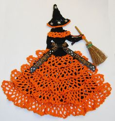 """Halloween Witch Crinoline Lady 8"""" Doily / Hand Crochet in Black w Orange Ruffles #CrinolineLady.  Found this completed doily on eBay.  For inspiration."""