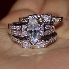 White Gold Finish 2.28 Ct.tw Marquise Cut Lab Diamond Wd Bridal Ring Band Set #aonedesigns #WeddingEngagementAnniversaryBrithdayPartyGift
