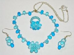 On Sale / Handmade Blue Necklace with Flower by AmhalchyJewelry,