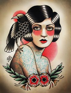 i really like the style of this tatto and also the shade on her face and her body , and how her hair and the crow blend together .     Tattooed girl and crow. Traditional tattoo flash by Quyen Dinh.