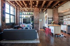 """Our Midwestern Studio Loft""...love the strung lights"