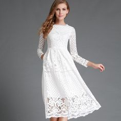 Summer Fashion Hollow Out Elegant White Lace Elegant Party Dress High Quality Women Long Sleeve Casual Dresses