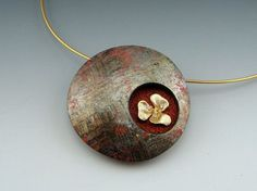 Elegant polymer clay window pendant in lush red and gold with flower