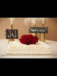 Gold bottles, lace, wedding sheet cake table, diy