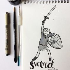 Todays Inktober theme was Sword. My brother and I spent countless hours bonding over the Zelda games when we were younger and today is a reminder of all the fun we used to have together.  Did you use to have fun with your siblings doing a particular activity too? #illustration #indianink #inktober #inktober2017 #zelda #videogames #zeldagames #siblings #havingfunwithmysiblings #childhoodmemories #sword