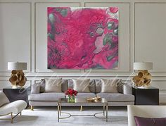 50inch, Pink print, Abstract Art Canvas, Modern Art, Pink and Silver, Watercolor Painting, Abstract Wall Decor, Julia Apostolova,