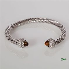 Smoky Topaz Tip Silver with Clear CZ Pave Rondel Cable Bracelet
