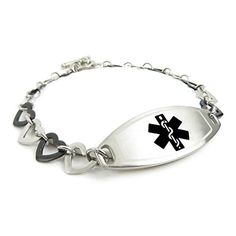 MyIDDr Custom Medical Alert Bracelet with Free Engraving- Steel Black Hearts ** Want to know more, visit http://www.amazon.com/gp/product/B014F4OFW0/?tag=splendidjewelry07-20&plm=190716043044