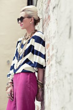 Awesome bold color with bold strips...but not too much! Great necklaces layers too!