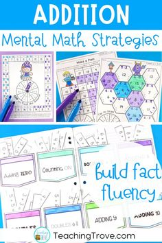 Teach addition strategies to your first grade students. Use the addition flip book to teach strategies such as count ons, doubles, near doubles, making a ten. Practice each strategy with five fun and motivating printables. This math pack is perfect for developing fact fluency in your first grade students. #mathgames #additionstrategies #factfluency #additiongames