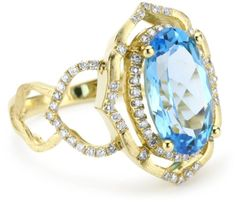 "Katie Decker ""Aragon"" 18k Blue Topaz and Diamond Ring"