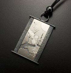 White blossoms and the moon Keum Boo silver pendant by KAZNESQ