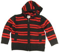 Urban Extreme Little Boys Black  Red Stripes FullZip Cardigan Sweater Black 7 >>> Click image for more details.