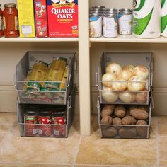 Keep you pantry and cabinets organized and decluttered with the Seville Classics Large Mesh Stacking Storage Bins. Crafted from durable mesh metal, each stackable bin features foldable wire handles and a spacious interiors to hold items. Kitchen Organization Pantry, Home Organisation, Diy Kitchen Storage, Pantry Storage, Kitchen Pantry, Diy Storage, Organizing Ideas, Storage Organization, Storage Bins