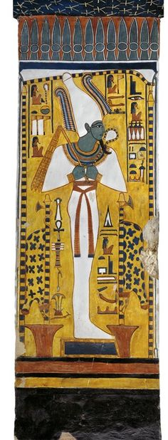 Egypt, Thebes (UNESCO World Heritage List, 1979) - Luxor - Valley of the Queens. Tomb of Nefertari. Burial chamber. Pillar. Mural paintings. Osiris (Dynasty 19, Ramses II, 1290-1224 BC) Digital reconstruction (QV66 - 333510)