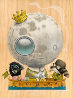 "Cuddly Rigor Mortis - ""Luna Ascensio Rex"" (inspired by the film, Moonrise Kingdom)    acrylic on wood"