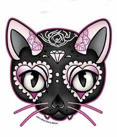 Black Pink Lucky Cat Sugar Skull Style Diamond Rose Sticker Decal | eBay