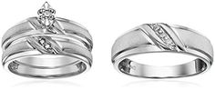 Sterling Silver Diamond Trio Wedding Ring Set *** Please continue read.