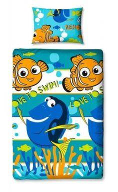 Disney-Le-Monde-De-Nemo-Dory-Lit-Simple-Rotatif-Ensemble-Housse-De-Couette