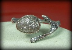 Rough Diamond ring, Diamond Twig Engagement Ring, Silver and raw diamond Ring