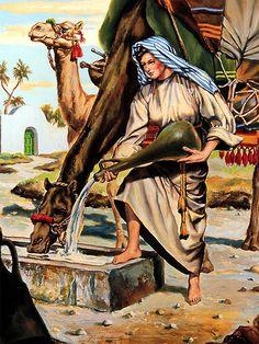 Génesis 24:20 Y se dio prisa, y vació su cántaro en la pila, y corrió otra vez al pozo para sacar agua, y sacó para todos sus camellos.