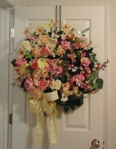 Spring Summer Wreath, Floral Grapevine Wreath, SHIPPING INCLUDED Elegant Luxury Real Touch Flower Wall Arrangement, Door ,Mantel Wreath by GiftsByWhatABeautifu on Etsy