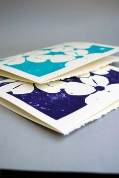 Hand Printed Cards  Dogwood Block Print  Set of Two by CursiveArts, $6.50