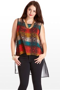 A fun multicolored take on the snakeskin print. Sheer, with an easy drape, dramatic high-low hem, and black colorblocked back, this unique and stylish tank leaves a lasting impression. Pair with dark jeans or black leggings and chunky gold jewelry and you'll make fashion hisssstory.