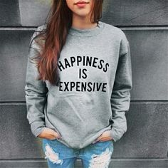 Grey & Black Happiness Is Expensive Sweatshirt New Arrival Coming Soon  Happiness Is Expensive Sweatshirt  Sizes: Small, Medium, Large & XL....Comment Below If You'd Like To Be Notified Once They're Available To Be Shipped  No Trades Price Firm Tops Sweatshirts & Hoodies
