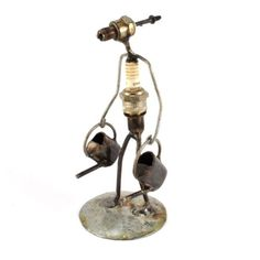 Recycled Spark Plug Gardener with Watering Cans Metal Sculpture