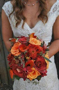 beautiful fall flowers   wedding flowers   orange wedding