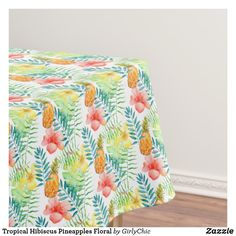 Tropical Hibiscus Pineapples Floral Tablecloth