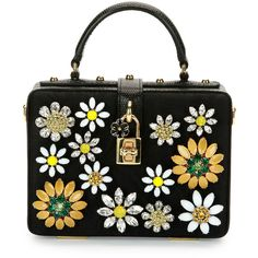 Dolce & Gabbana Dolce Box Crystal Flower Satchel Bag (£2,645) ❤ liked on Polyvore featuring bags, handbags, black multi, satchel handbags, handbag satchel, flower purse, black satchel purse and top handle satchel handbags