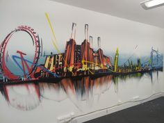 Client: CustomerFirstSolutions - Office graffiti interior - #graffiti #design #interiordesign #abstract #skyline #handpainted #bespoke #custom #london #batterseapowerstation #londoneye #bigben #officeinteriors #officedesign